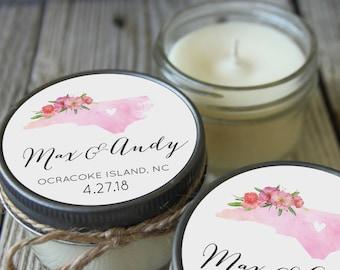 Set of 12 - 4 oz Soy Candle Wedding Favors - Watercolor State Design - Rustic Bridal Shower Favors, Destination Wedding Favors
