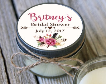 12 - 4 oz Soy Candle Bridal Shower Favors - Floral Label - Floral Bridal Shower Favors - Feather Bridal Shower Favor - Mason Jar Favor