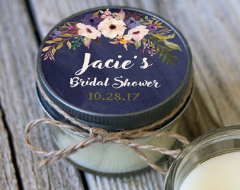 12 - 4 oz Soy Candle Bridal Shower Favors//Navy Floral Label //Floral Bridal Shower Favors//Chalkboard Bridal Shower//Mason Jar Favor