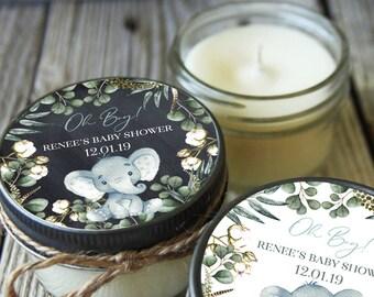 Set of 12 -  Boy Elephant Baby Shower Candles