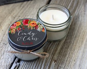 Set of 12 - 4 oz Candle Wedding Favor//Soy Candle Favor// Chalkboard Floral Wedding Favors//Boho Wedding//Fall Wedding