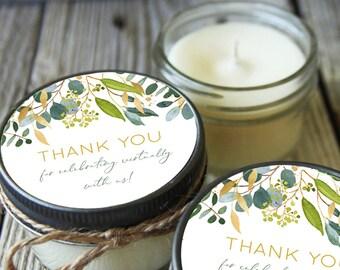12 - 4 oz Candle Jars//Greenery Green & Gold Leaf  Virtual Shower Favor//Bridal Shower Favor//Baby Shower Favor//Thank you gift
