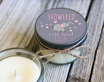 Set of 12 - 4 oz SoyCandle Favor//Elephant Baby Shower//Girl Baby Shower//Boy Baby Shower//Unique Shower Favor//Baby Elephant Baby Shower