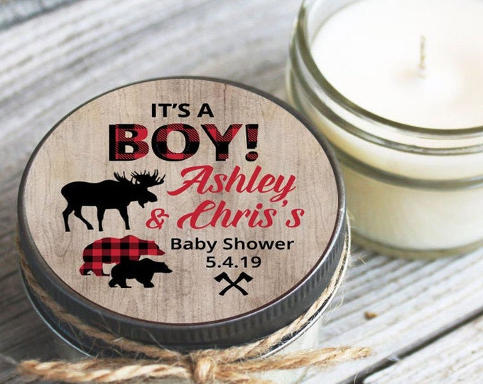 Featured listing image: Lumberjack Baby Shower Set of 12 - 4 oz SoyCandle Favor//Woodland Baby Shower//Oudoor Baby Shower//Hipster Shower Favor//Baby Shower Favor