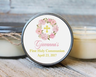 set of 12 - 4 oz Baptism Favor//First Communion Favor//Soy Candle Favor//Personalized Baptism Favor