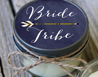 Set of 12 - 4 oz Soy Candles - Chalkboard Bride Tribe Candles//Team Bride Shower Favors//Team Bride Favors//Navy Wedding