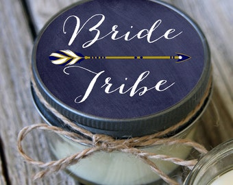 Set of 6 - 4 oz Soy Candles - Chalkboard Bride Tribe Candles//Team Bride Shower Favors//Team Bride Favors//Navy Wedding