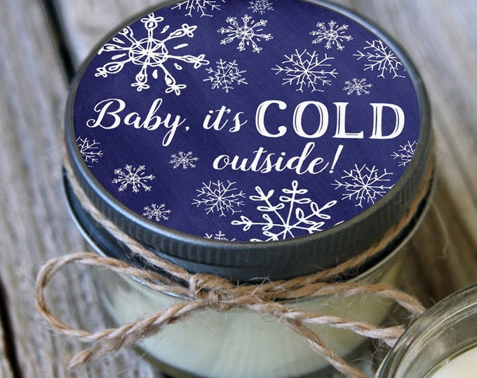 Featured listing image: Snowflake favor Set of 12 - 4 oz Candles - Baby it's Cold Outside - Winter Baby Shower