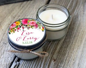 Set of 12 - 4 oz Candle Wedding Favor//Soy Candle Favor// Chalkboard Floral Wedding Favors//Boho Wedding//Spring Wedding