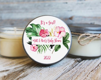 Set of 12 - Tropical Aloha Baby Shower Candles - Aloha Baby Shower Favor - Hawaiian Baby Shower Favor - Girl Baby Shower Favor