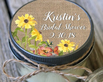 Set of 12 - 4 oz Bridal Shower Burlap & Sunflower Candle Favors