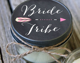 Set of 12 - 4 oz Soy Candles - Chalkboard Bride Tribe Candles//Team Bride Shower Favors//Team Bride Favors//Bride Tribe//Bridal Shower