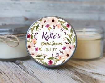 12 - 4 oz Bridal Shower Greenery Candle Favors