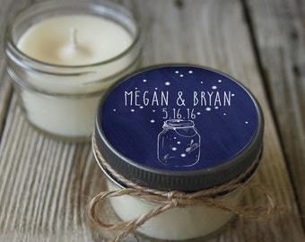 12 - 4 oz mason jar candle - Bridal Shower Favor Fireflies in Mason Jar//Personalized Wedding Favor//Shower Favor//Candle Favors//