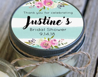 4 oz Soy Candle Bridal Shower Favors//Aqua Blush Wedding
