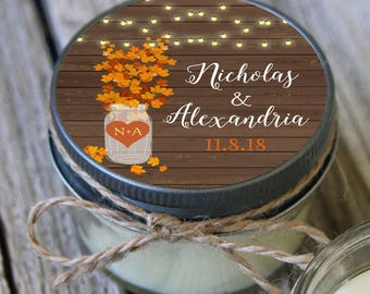 12 - 4 oz Bridal Shower Favor//Fall Leaves Mason Jar Favor//Soy Candle Favor//Personalized Bridal Shower Favor//Shower Favor//Fall Favor