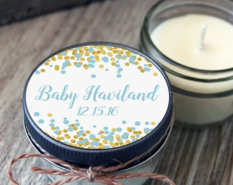 Baby Shower Favor//Set of 12 - 4 oz SoyCandle Favor//Polka Dot//Girl Baby Shower//Boy Baby Shower//Unique Shower Favor//Daisy Baby Shower