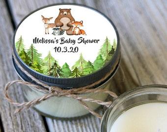 Set of 12 - 4 oz Woodland Baby Shower Favor Candle//Woodland Shower Favor//Woodland Animal Favors