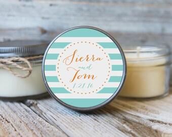 12 - 4 oz Bridal Shower Favor//Stripe Wedding Favor//Bridal Shower Favor//Personalized Wedding Favor//Shower Favor//Candle Favors//