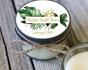 12 - 4 oz Candle Jars//Tropical Green & Gold Leaf Bridal Shower Favor//Bridal Shower Favor