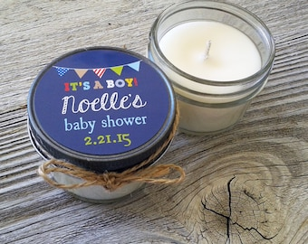 Set of 12 - 4 oz Baby Shower Candle Favor - Soy - Personalized Baby Shower  Favors // Its a Boy // Bunting Baby Shower Favors
