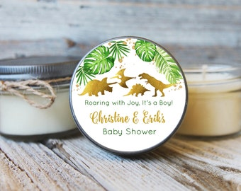 Set of 12 - 4 oz Dinosaur Baby Shower Favor Candle//Golden Dinosaur Baby Shower//Gold Dinosaur Favor