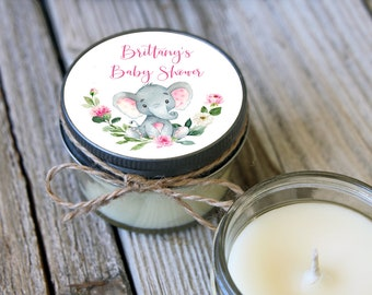 Set of 12 - 4oz Candle Favor//Girl Elephant Baby Shower//Elephant Baby Shower//Girl Baby Shower//Baby Elephant Baby Shower