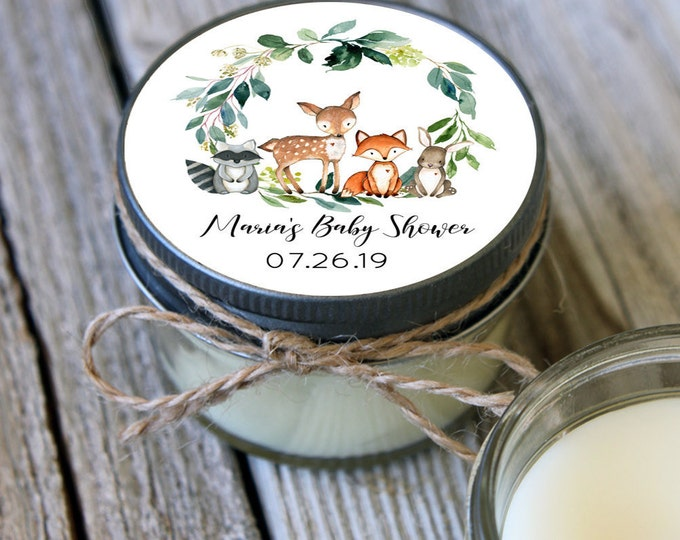 Featured listing image: Set of 12 - 4 oz Woodland Baby Shower Candle Favors