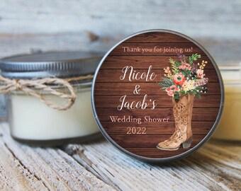 Set of 12 - Western Bridal Shower Candle - Wedding Shower Candle - Cowgirl Shower Favor - Cowboy Shower Favor - Floral Boot