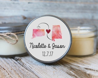 Set of 12 - 4 oz Soy Candle Wedding Favors - State Theme Wedding