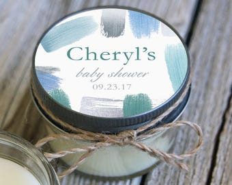 Set of 12 - 4 oz Soy Candle Bridal Shower Favors // Watercolor Wedding Favors // Baby Shower Favors // Bachelorette Party Favors
