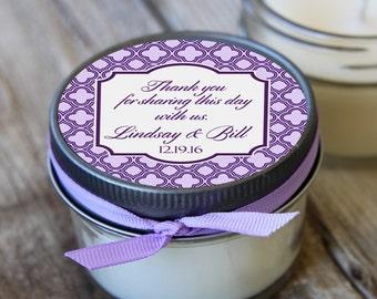 12 - 4 oz Wedding Favor//Lavender Wedding Favor//Soy Candle Favor//Personalized Bridal Shower Favor//Shower Favor//Candle Favors//