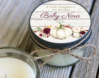 Set of 12 - 4 oz Baby Shower Little Pumkpin Candle Favors White