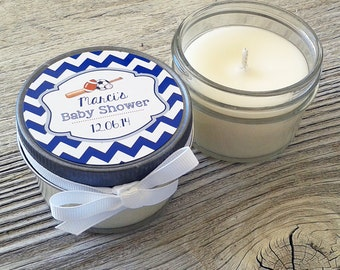 Set of 12 - 4 oz Baby Shower Candle Favor - Soy - Personalized Baby Shower  Favors //Sports Baby Shower // Chevron Baby Shower Favors