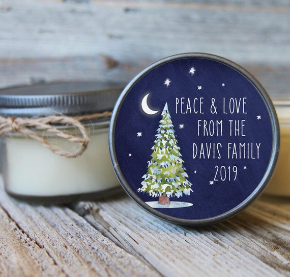 12 - 4 oz Hostess Gift//Christmas Tree Label//Soy Candle Favor//Personalized Favor//Party Favor//Hostess Gift