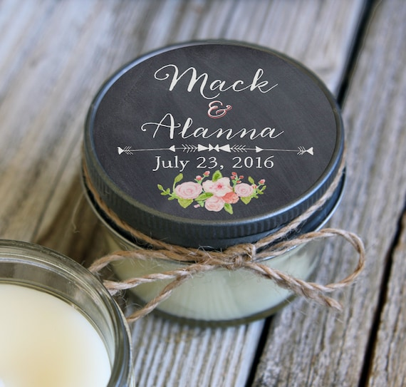 Set of 100 - 4 oz Candle Wedding Favor - Soy - Personalized Wedding Favors // Chalkboard & Pink Floral Wedding Favors