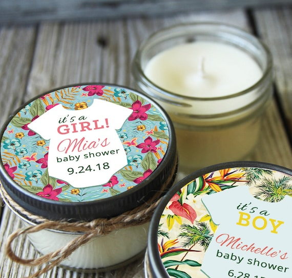 Set of 12 - 4 oz Tropical Baby Shower Favor Candle // Aloha Baby Shower