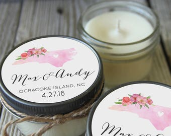 Set of 12 - 4 oz Soy Candle Wedding Favors - Watercolor State Design - Rustic Bridal Shower Favors, Destination Wedding Favors