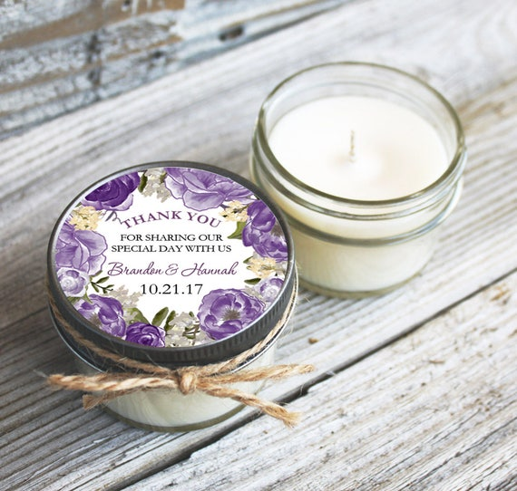 12 - 4 oz Wedding Favor//Floral Wreath Favor//Soy Candle//Personalized Bridal Shower Favor//Shower Favor//Candle Favors//Thank you gift