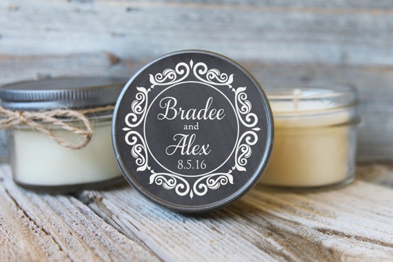 Set of 50 - 4 oz Candle Wedding Favor - Soy - Personalized Wedding Favors
