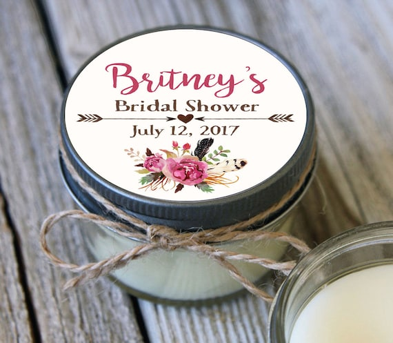 60 - 4 oz Soy Candle Bridal Shower Favors - Floral Label - Floral Bridal Shower Favors - Feather Bridal Shower Favor - Mason Jar Favor