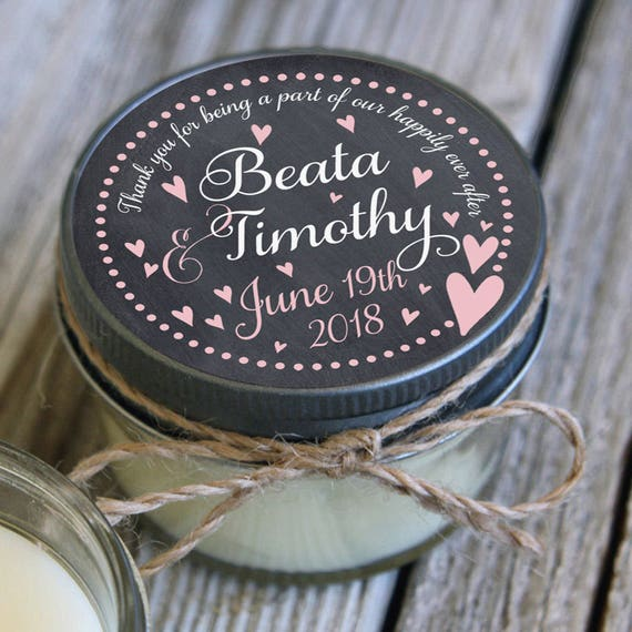 Set of 72 - 4 oz Candle Wedding Favor -Personalized Wedding Favors // Chalkboard Floating Hearts Wedding Favors