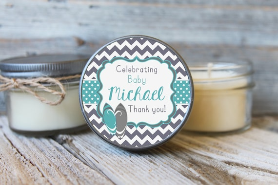 Set of 12 - 4 oz SoyCandle Favor//Aloha Baby Shower//Girl Baby Shower//Boy Baby Shower//Surfboard Baby Shower Favor//Baby Shower Favor