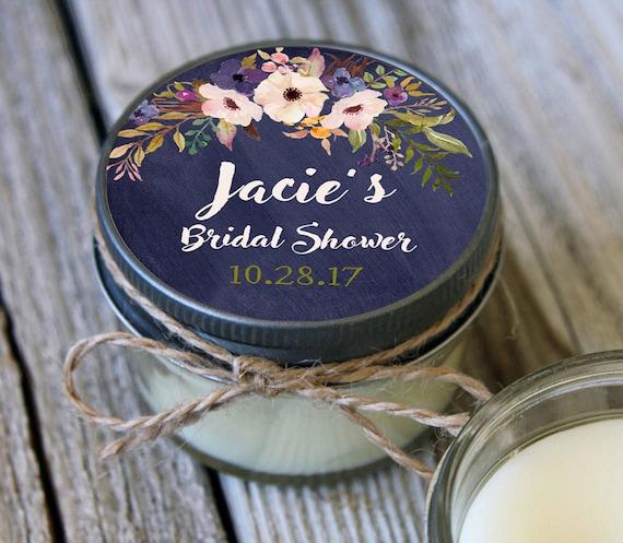 12 - 4 oz Soy Candle Bridal Shower Favors//Navy Floral Label //Floral Bridal Shower Favors//Chalkboard Bridal Shower//Mason Jar Favor