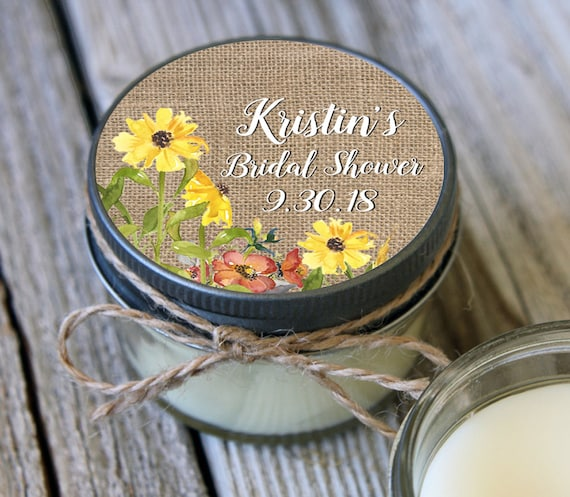 Set of 120 - 4 oz Soy Candle Bridal Shower Favors - Burlap and Sunflower Label Design - Sunflower Wedding Favors