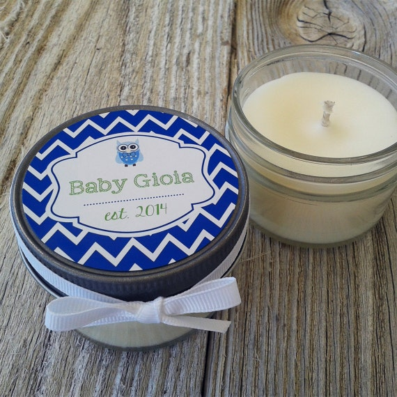 Set of 12 - 4 oz Baby Shower Candle Favor - Soy - Personalized Baby Shower  Favors // Chevron Baby Shower Favors