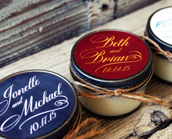 Set of 12 - 4 oz Candle Wedding Favor - Soy - Personalized Wedding Favors // Chalkboard Distressed Script Wedding Favors