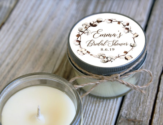 12 - 4 oz Soy Candle Bridal Shower Favors -Cotton Flower Design