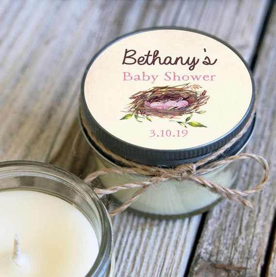Nest Baby Shower- Set of 12 - 4 oz Personalized Soy Candle Favor
