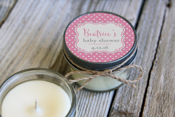 Baby Shower Favor//Set of 12 - 4 oz SoyCandle Favor//Polka Dot//Girl Baby Shower//Boy Baby Shower//Unique Shower Favor//Pink Baby Shower